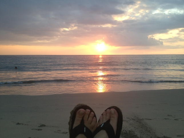 Slippers in the sunset at Hapuna Beach
