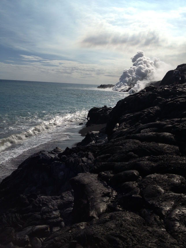 Lava flowing into ocean